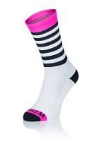 Winaar BWP stripes - Wit/Zwart met fluo roze accenten