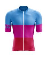 Winaar Pink Wielershirt korte mouw - Dames - Blauw-Roze-Rood