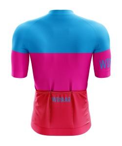 Winaar Pink Wielershirt korte mouw - Heren - Blauw-Roze-Rood