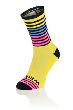 Winaar OMG2 - Geel Zwart met blauw en fluo roze strepen