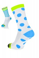 Winaar WBF dot stripe mix - Wit/Fluo Geel Met Blauwe Stippen & Strepen