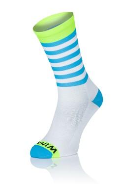 Winaar WBF stripes - Wit/Fluo Geel Met Blauwe Strepen