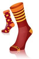 Winaar BO dot stripe mix - Rood/Oranje Met Gele Stippen & Strepen