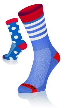 Winaar BRW dot stripe mix - Blauw/Rood Met Witte Stippen & Strepen
